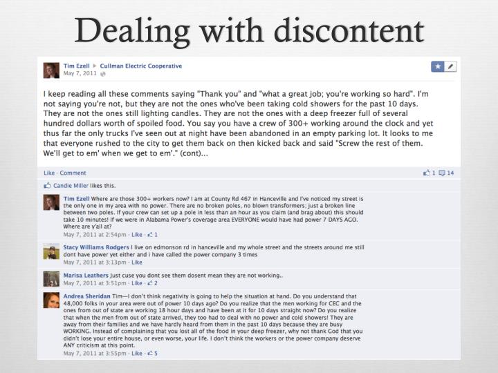 Dealing with discontent