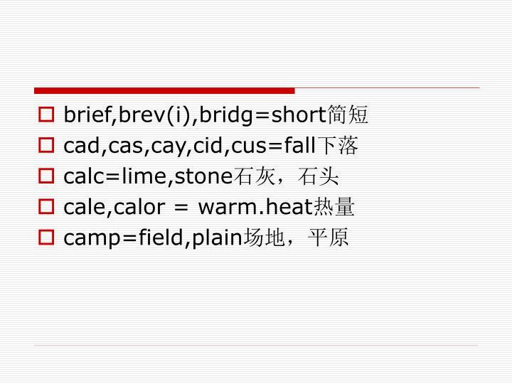 brief,brev(i),bridg=short