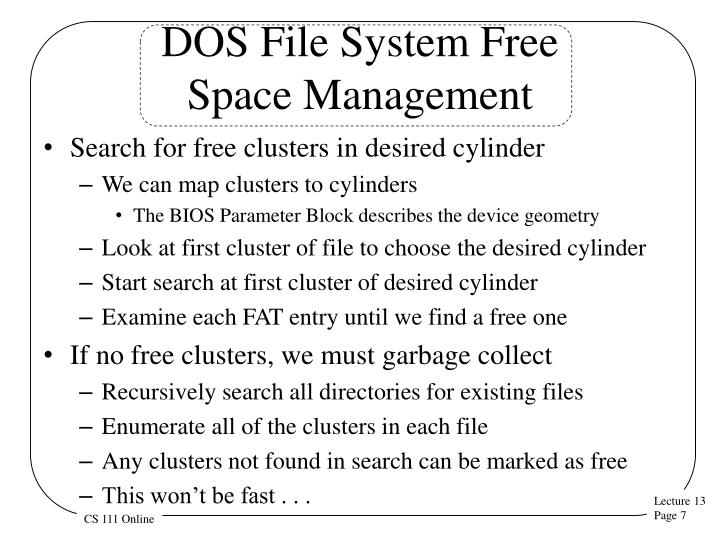 DOS File System Free
