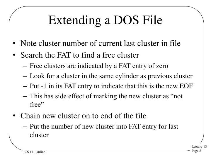 Extending a DOS File