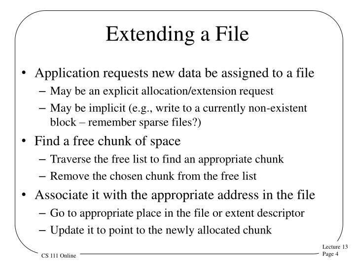 Extending a File