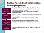 enabling knowledge of transformation learning progression