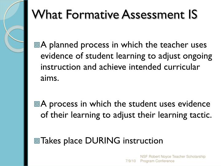 What Formative Assessment IS