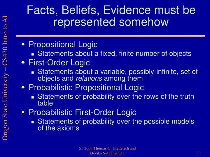 Facts beliefs evidence must be represented somehow