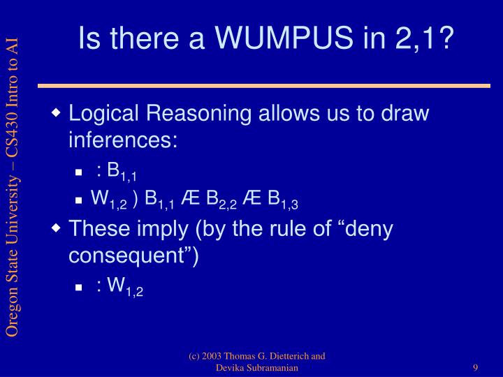 Is there a WUMPUS in 2,1?