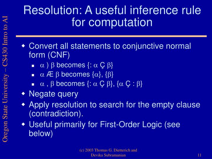 Resolution: A useful inference rule for computation
