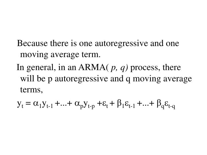 Because there is one autoregressive and one moving average term.