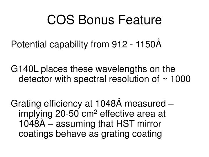 COS Bonus Feature