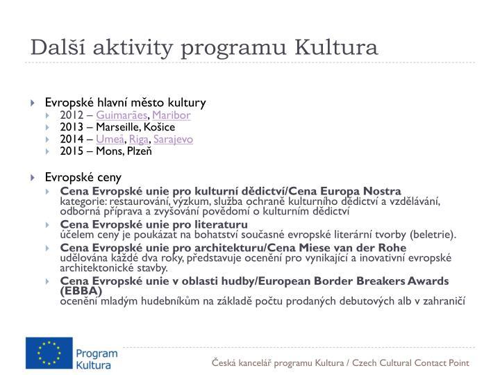 Další aktivity programu Kultura