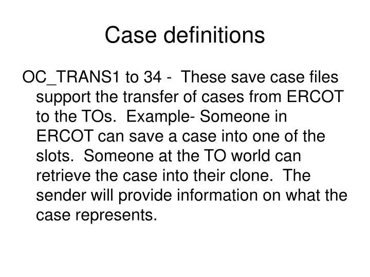 Case definitions