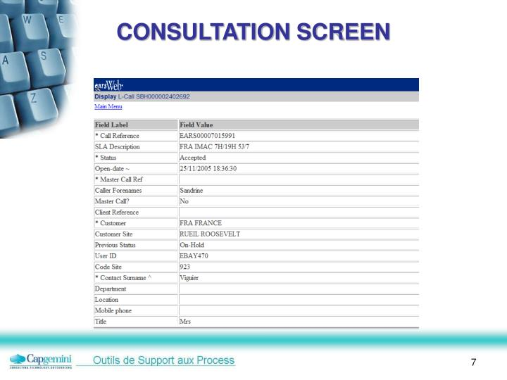 CONSULTATION SCREEN