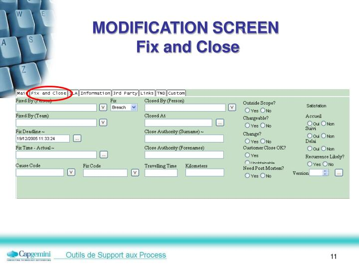 MODIFICATION SCREEN