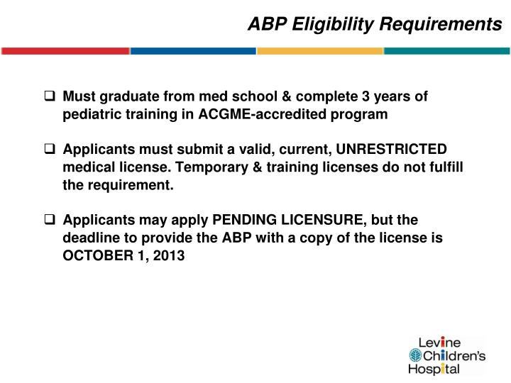 ABP Eligibility Requirements