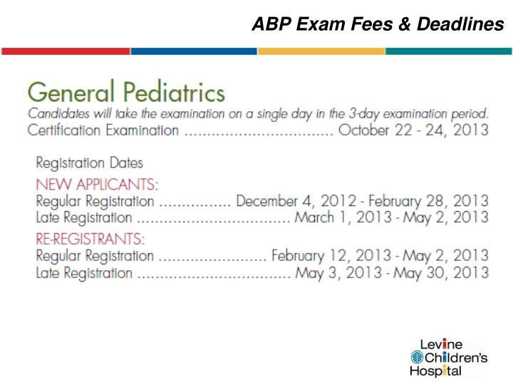 ABP Exam Fees & Deadlines