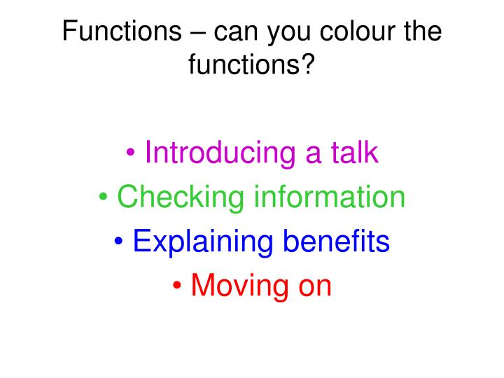 Functions – can you colour the functions?