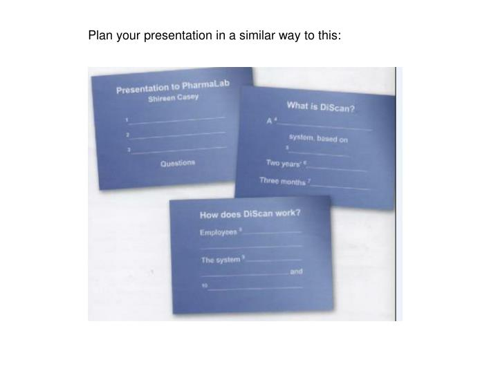 Plan your presentation in a similar way to this: