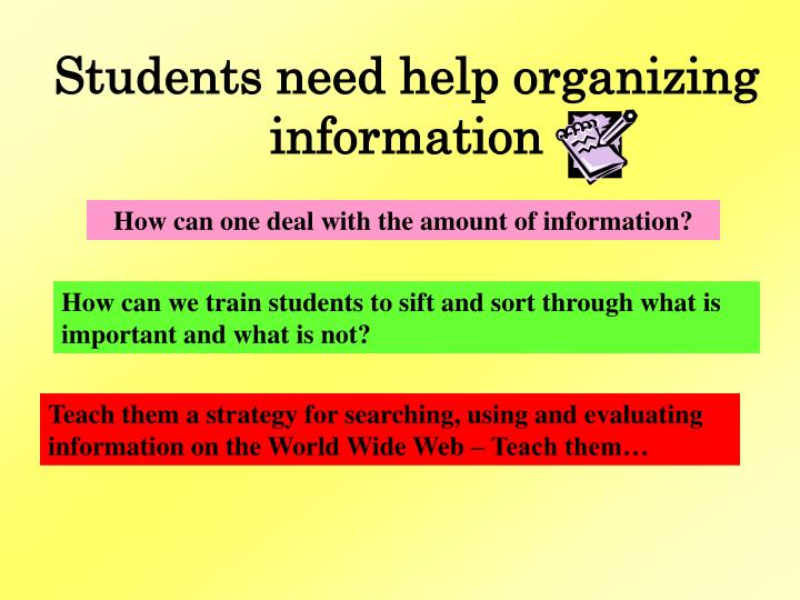 Students need help organizing information