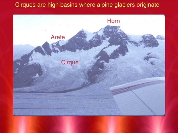 Cirques are high basins where alpine glaciers originate