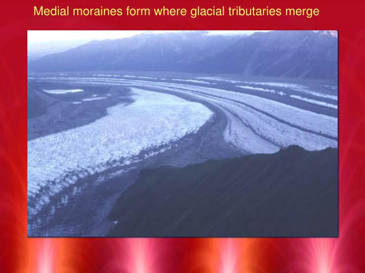 Medial moraines form where glacial tributaries merge