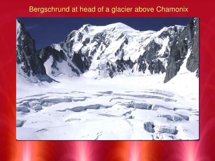 Bergschrund at head of a glacier above Chamonix