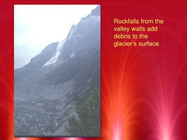 Rockfalls from the valley walls add debris to the glacier's surface