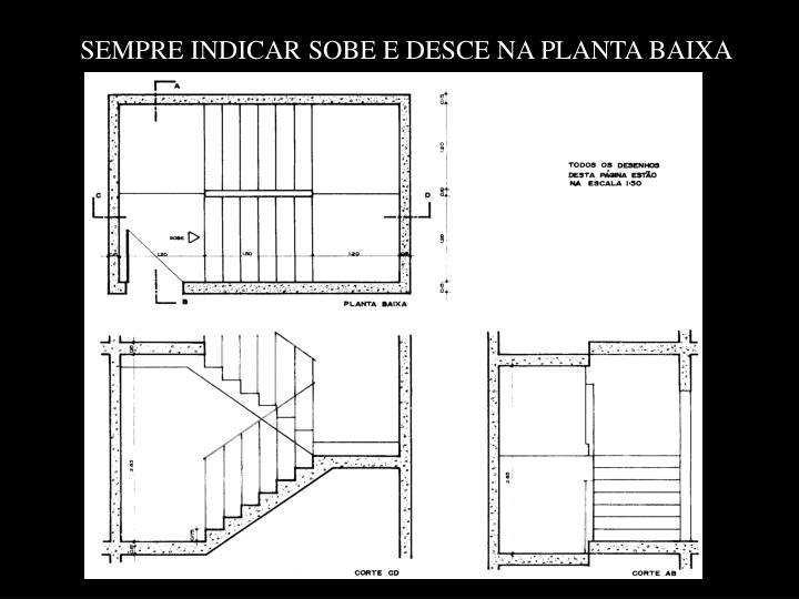 SEMPRE INDICAR SOBE E DESCE NA PLANTA BAIXA