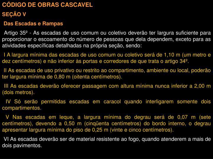 CÓDIGO DE OBRAS CASCAVEL
