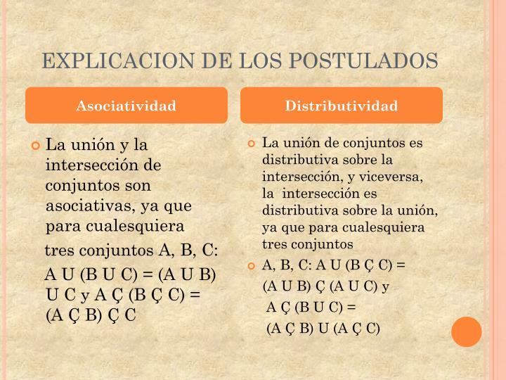 EXPLICACION DE LOS POSTULADOS