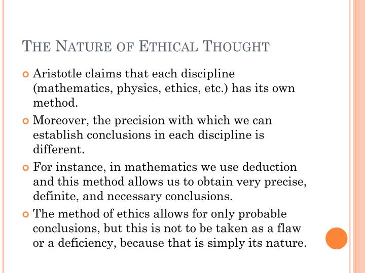 The Nature of Ethical Thought