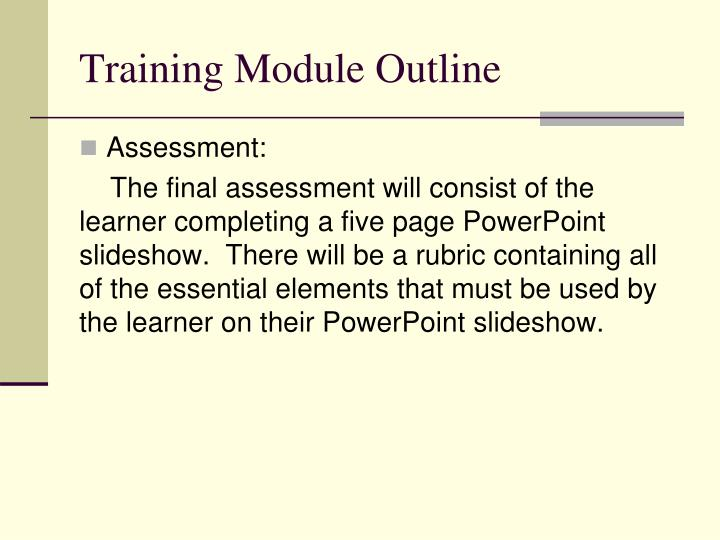 Training Module Outline