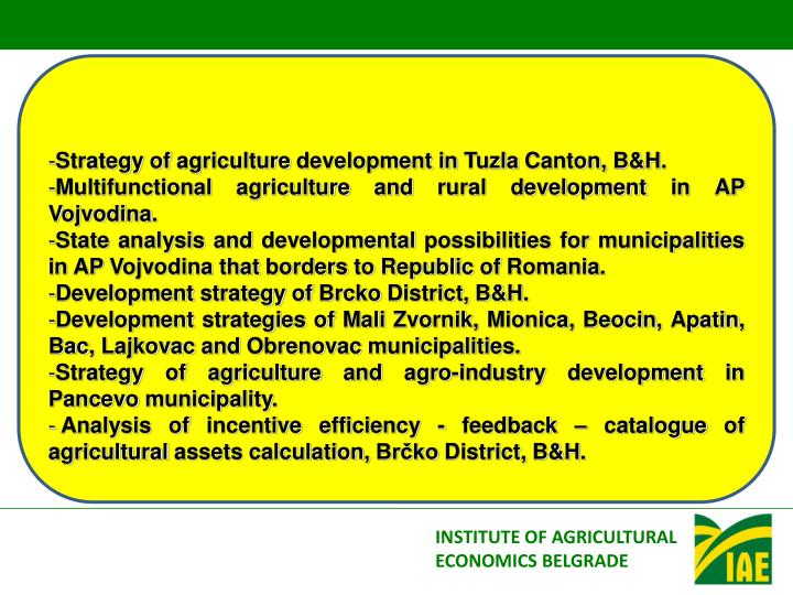 Strategy of agriculture development in Tuzla Canton, B&H.