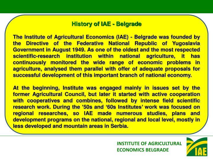 History of IAE - Belgrade