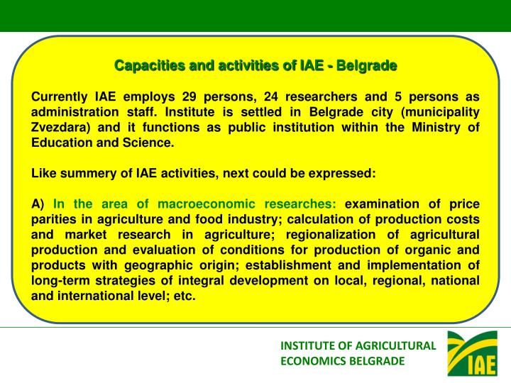 Capacities and activities of IAE - Belgrade