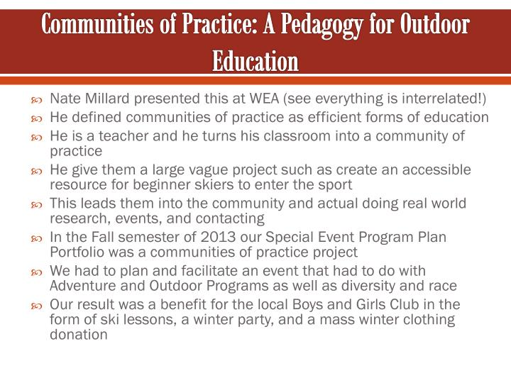 Communities of Practice: A Pedagogy for Outdoor Education