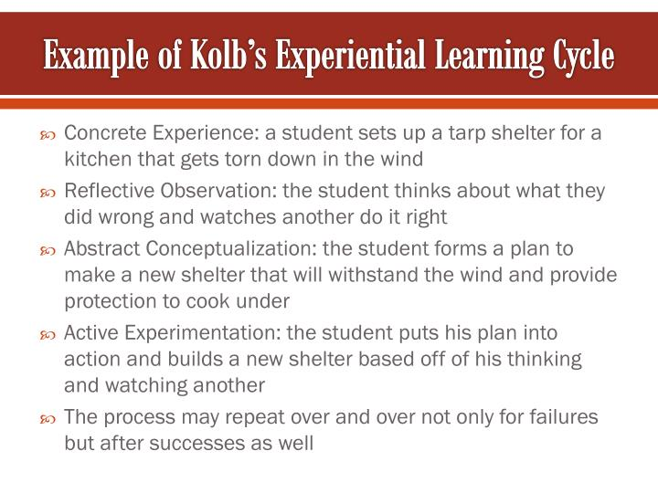 Example of Kolb's Experiential Learning Cycle