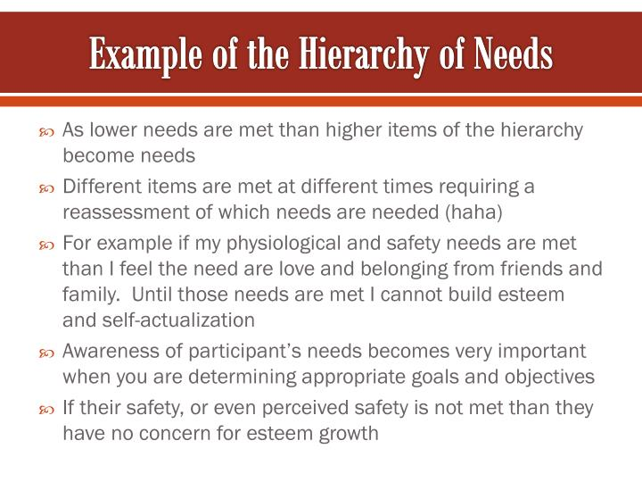 Example of the Hierarchy of Needs