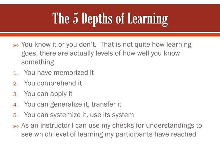 The 5 Depths of Learning
