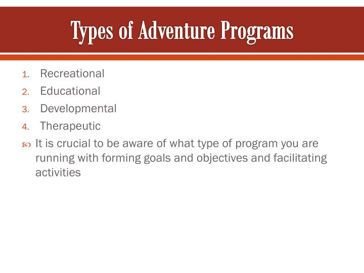Types of Adventure Programs