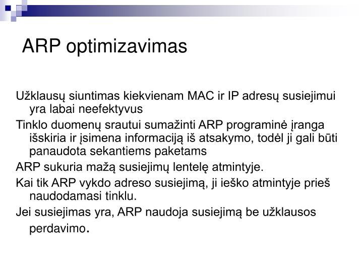 ARP optimizavimas
