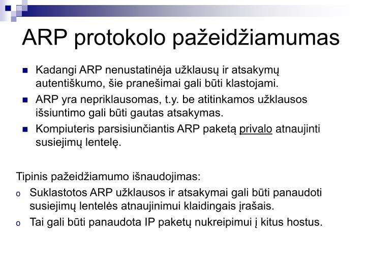 ARP protokolo pažeidžiamumas
