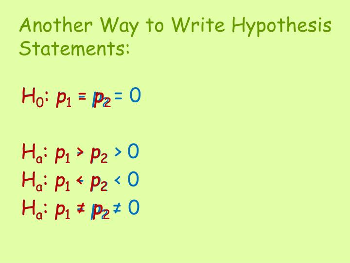 Another Way to Write Hypothesis
