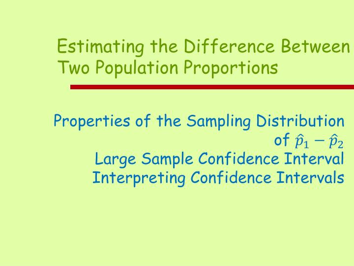 Estimating the Difference Between Two Population Proportions