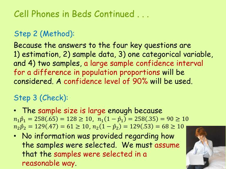 Because the answers to the four key questions are        1) estimation, 2) sample data, 3) one categorical variable, and 4) two samples,