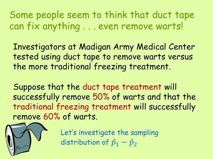 Some people seem to think that duct tape can fix anything . . . even remove warts!