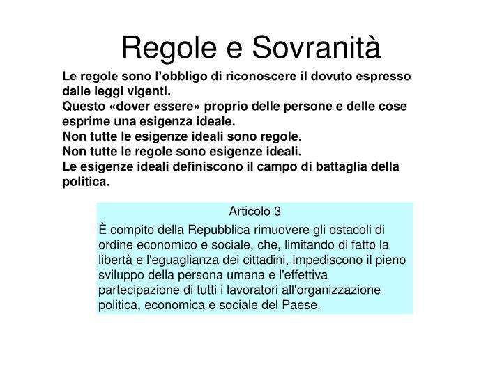 Regole e Sovranità