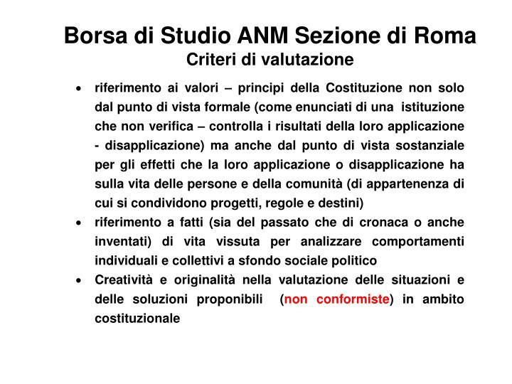 Borsa di Studio ANM Sezione di Roma