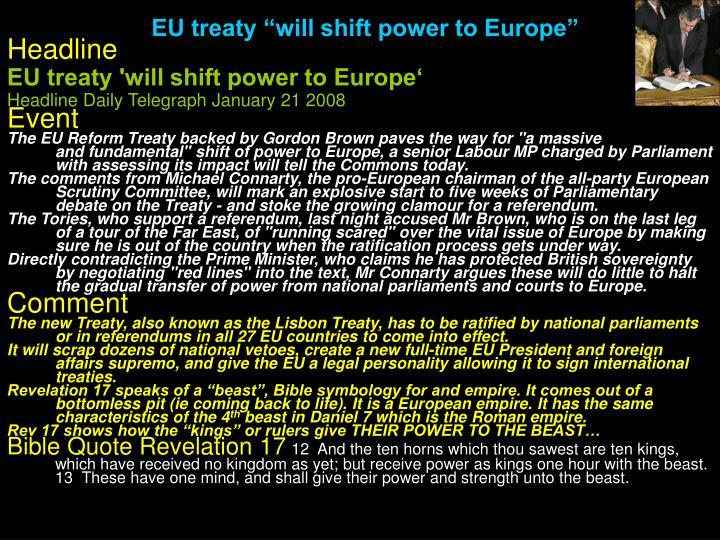 "EU treaty ""will shift power to Europe"""
