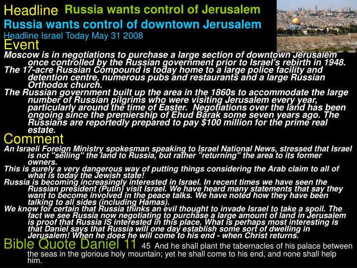 Russia wants control of Jerusalem