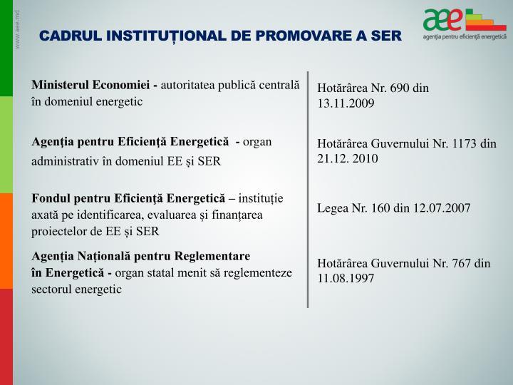 Cadrul instituțional de promovare a SER