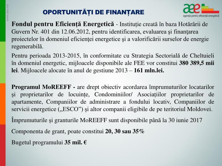 Oportunități de finanțare